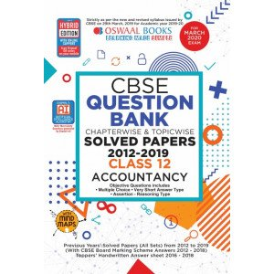 Oswaal CBSE Question Bank Class 12 Accountancy Book Chapterwise & Topicwise Includes Objective Types & MCQ's (For March 2020 Exam)