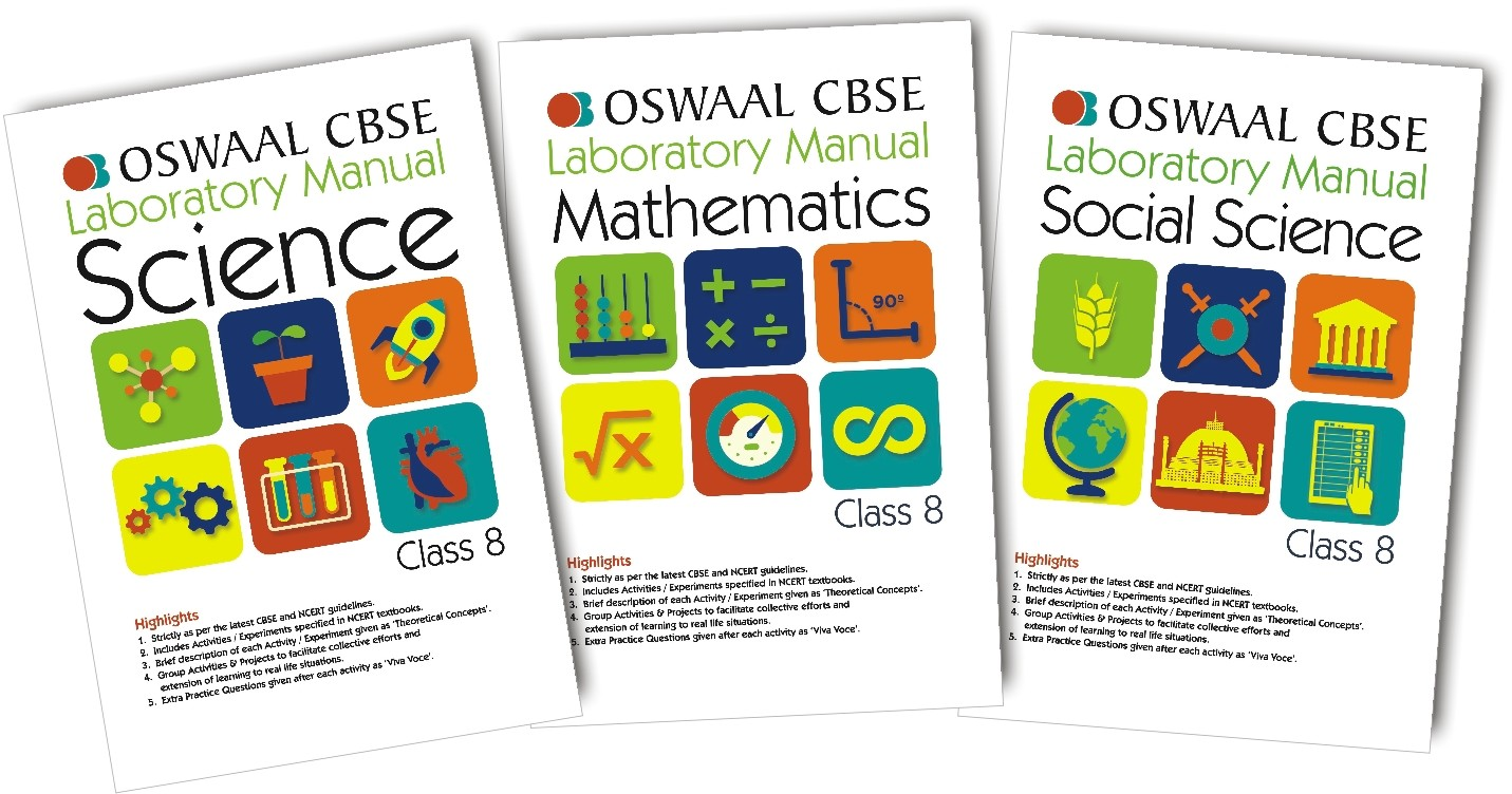 Oswaal CBSE Laboratory Manual Class 8 (Set of 3 Books ) Science, Social Science & Mathematics (For March 2020 Exam)