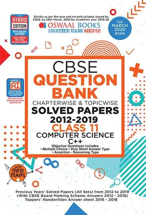 Oswaal CBSE Question Bank Class 11 Computer Science Book Chapterwise & Topicwise Includes Objective Types & MCQ's (For March 2020 Exam)