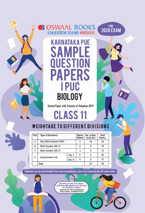 Oswaal Karnataka PUE Sample Question Papers I PUC Class 11 Biology Book (March 2020 Exam)