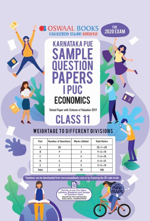 Oswaal Karnataka PUE Sample Question Papers I PUC Class 11 Economics Book (March 2020 Exam)